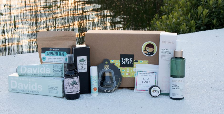 Clean Beauty Think Dirty July 2017 Subscription Box Contents Davids Premium Natural Toothpaste, Buckaroo Soapberry Suds, Crave Alchemy Oil, 100% Pure Sun Stick SPF30, POGO Balm Vanilla Bean, NIU BODY Makeup Remover Wipe, Cocopits review, Biossance Squalane antioxidant Cleansing Oil review on Dock in Cottage Country